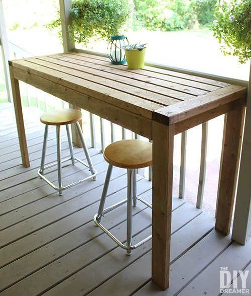 DIY Outdoor Bar Table from 2x4's
