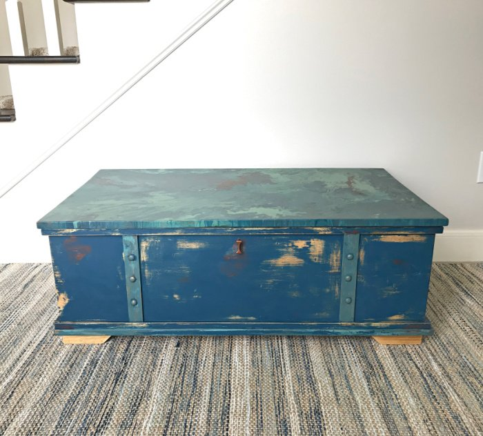 DIY Rustic Multicolor Distressed Paint Steps anyone can do to get a beautiful vintage chippy look. Furniture Before and After Project with DIY Steps and how-to video. #AbbottsAtHome #FurnitureMakeover #LayeredPaint #ChalkPaint #BeforeAndAfter #FurnitureRedo