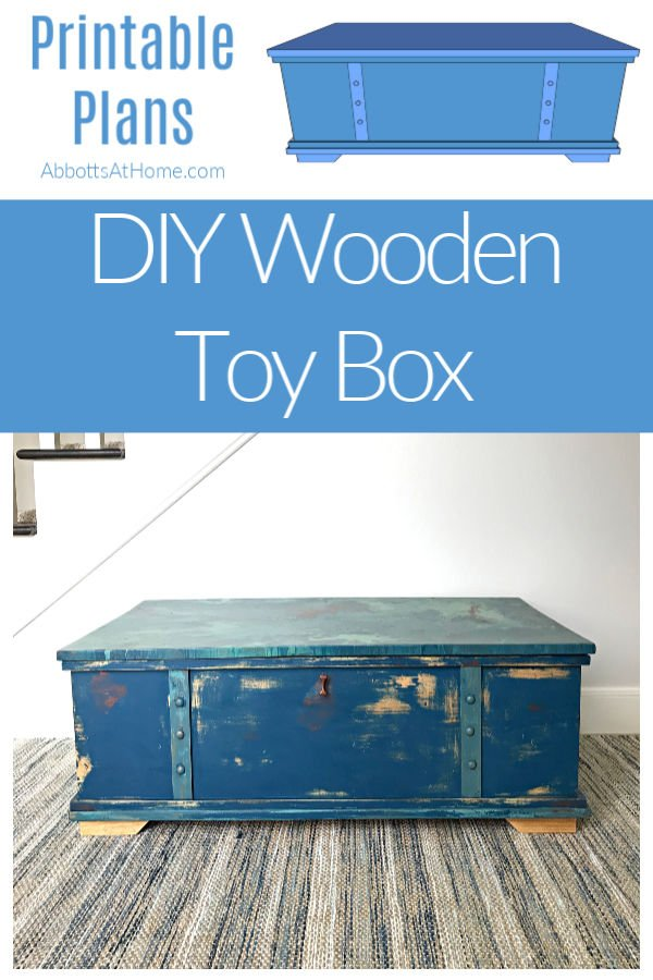 How to build a DIY Wooden Toy Box - Step by Step - with video and printable build plans - large wood toy box plans #AbbottsAtHome #ToyBox #Woodworking #DIYIdeas #KregJig