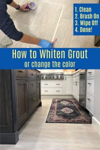 Here's How to Whiten Tile Grout and seal grout in one easy DIY project. Actually, pick from 30 different grout colors for this, not just white. Here are the steps, how-to video, and before and after pictures from my Kitchen Floor Grout Makeover. #AbbottsAtHome #Grout #Kitchen #Bathroom #HomeImprovement