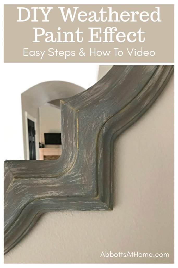 How To Paint a Weather Paint Finish with chalk paint. Easy steps and video to give your decor or furniture a pretty makeover. #Painting #ChalkPaint #DIYProjects #DIYHomeDecor #AbbottsAtHome