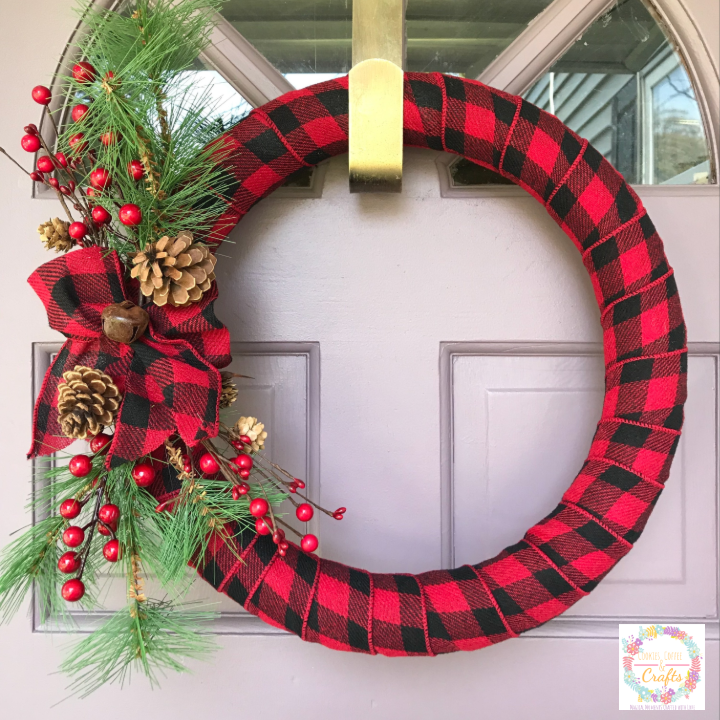 DIY Buffalo Check Ribbon Christmas Wreath