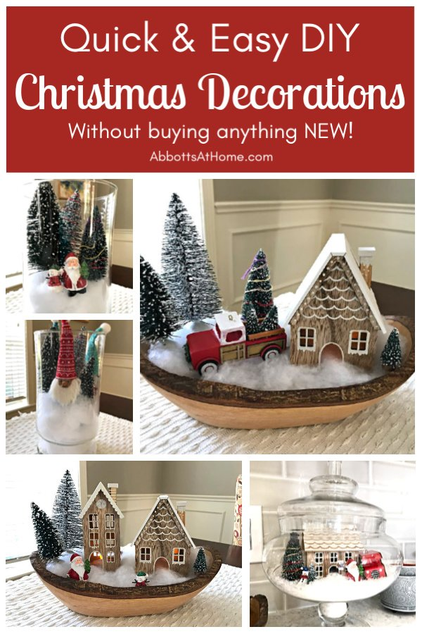 Make your own Eye-Catching, Quick, and Easy DIY Christmas Table Decorations with Stuff you already have at home! This how-to video and picture inspo can show you how to make cute and fun Christmas decorations your family will love! #Christmas #ChristmasDecor #HomeDecor #ChristmasIdeas #AbbottsAtHome