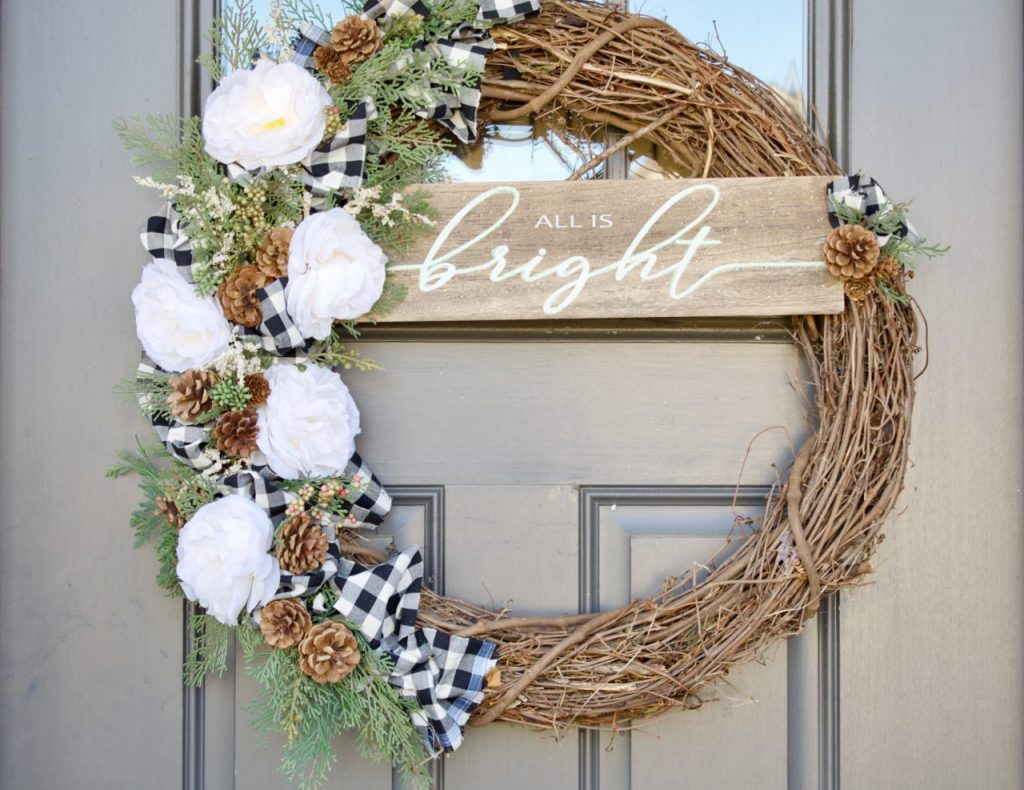 DIY Grapevine Designer Christmas Wreath