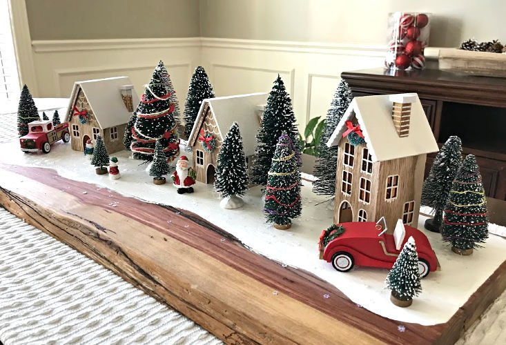Here's how to make an Easy Farmhouse DIY Red Truck Christmas Table Centerpiece your guests will love. With DIY steps and how to video. #AbbottsAtHome #RedTruck #Christmas #ChristmasCrafts #ChristmasTable