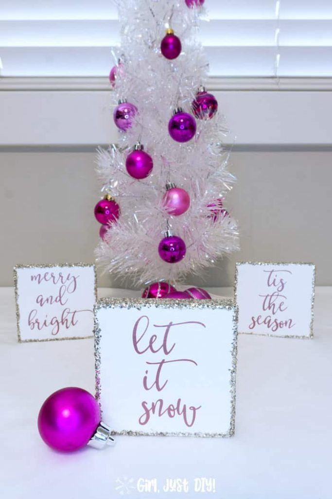 DIY Wood Block Cricut Christmas Signs