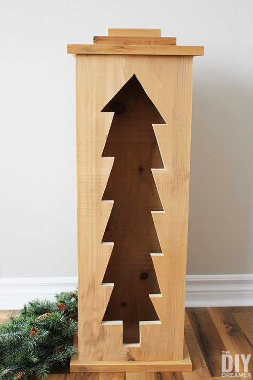 DIY Wooden Christmas Tree Lantern