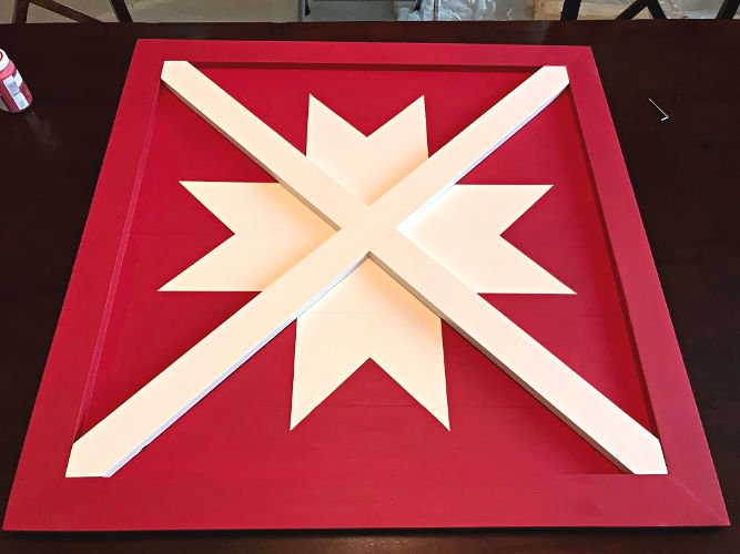 How to build this Wooden DIY Barn Star Art (Wood Barn Quilt) for less than $20 in lumber. Pottery Barn sells it for $400. Winning! DIY Wood Sign - Barn Quilt - Pottery Barn Knock Off #ChristmasProjects #ChristmasDecor #ChristmasSign #PotteryBarn #BarnQuilt #AbbottsAtHome