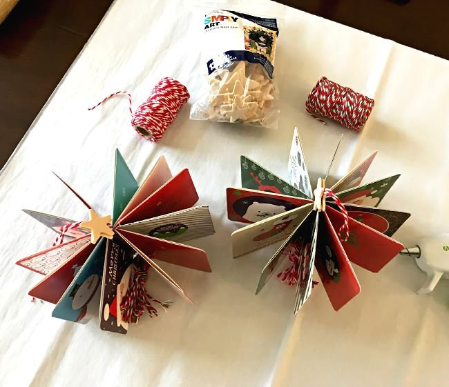 DIY Christmas Ornaments made with Christmas Cards and Twine