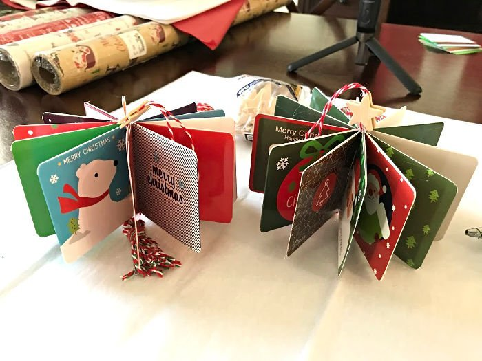 How to make cheap and easy DIY Christmas Card Ornaments with a Christmas Twine tassel. How to Video and steps. #AbbottsAtHome #ChristmasOrnaments #DIYCrafts #DIYChristmas #HandmadeChristmas #ChristmasCards