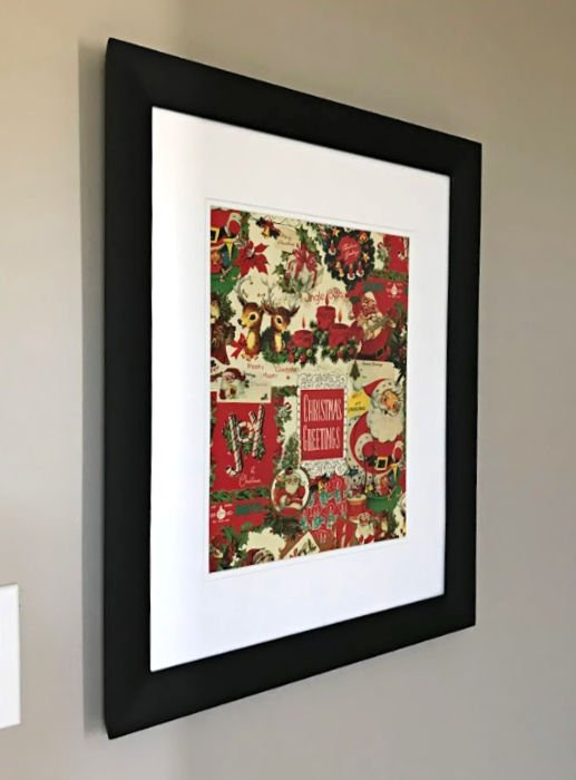 Easy DIY Christmas Wall Art Ideas - replace art in frames with Vintage Christmas Gift Wrap for a quick, pretty Christmas decor update. #AbbottsAtHome #ChristmasProjects #ChristmasIdeas #ChristmasDecor #Christmas