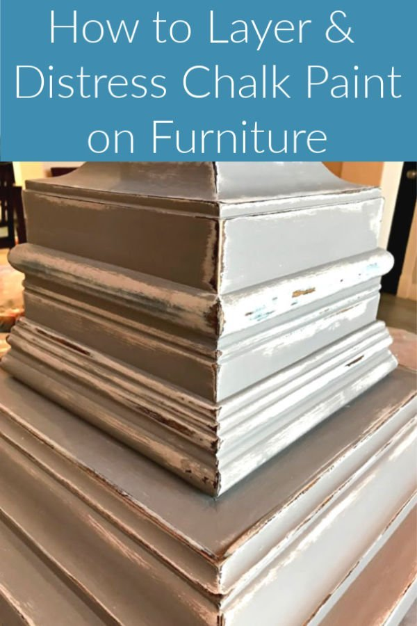 Here's how I get the perfect layered paint and distressed paint finish with chalk paint on furniture. Easy how to distress paint steps and video to help you do it too! #PaintTips #Painting #Crafts #DIYCrafts #ChalkPaint