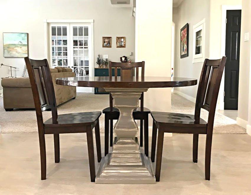 DIY Round Wooden Kitchen Table with a Pedestal Basetal Base