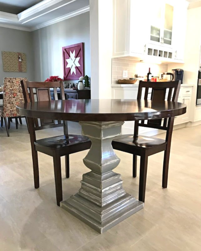 How to build a DIY Wooden Kitchen Table with a pedestal base - using an Osborne Wood Transitional Pedestal as a starting point - then adding wood squares to build the pedestal up and trim moulding to finish it.