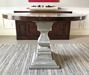 How to build this beautiful wooden DIY Round Kitchen Table with a pedestal base. Easy to follow woodworking steps, DIY video and printable plans. DIY Wooden Kitchen Table Build Plans.
