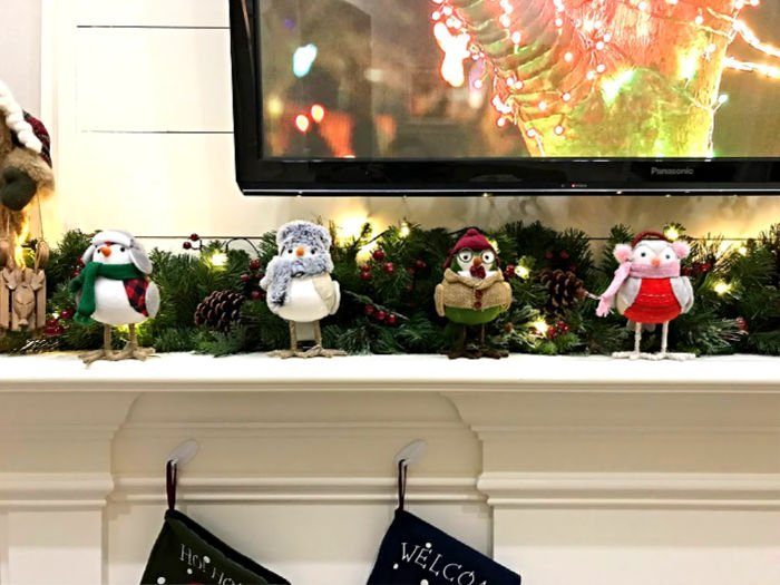Christmas Bird Decor on a White Mantle