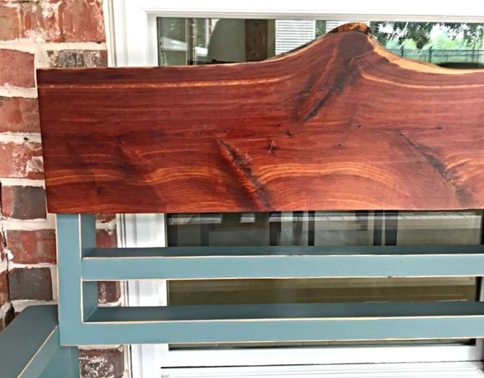 How to steps for this distressed paint finish with Cedar Live Edge on an outdoor bench