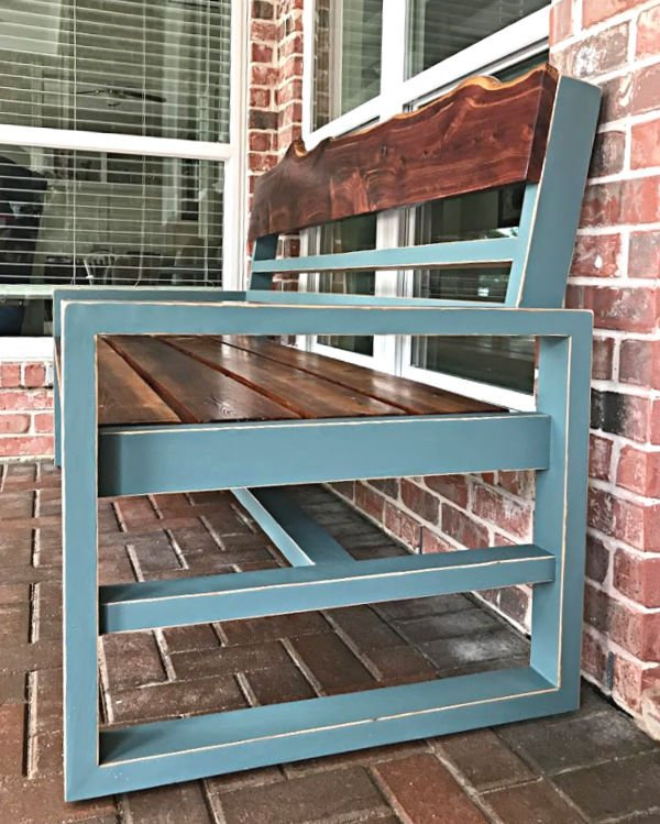 Easy to follow steps for this beautiful DIY Vaseline Distressed Paint using petroleum jelly (Vaseline) and Magnolia Homes by Kilz paint color Demo Day. Paint an Outdoor Bench or any furniture with these steps.
