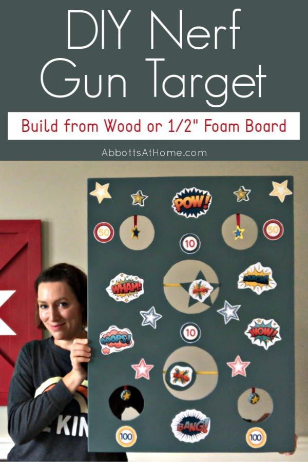 "Looking for another fun way to keep your kid's busy?! You can build this DIY Nerf Gun Target from Wood or 1/2"" Foam Board. It's a great homemade kids game for indoors and outdoors."