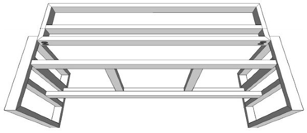 Printable Build Plans for a DIY Wood Bench with a back. DIY Outdoor Sofa from 2x4 Pine.