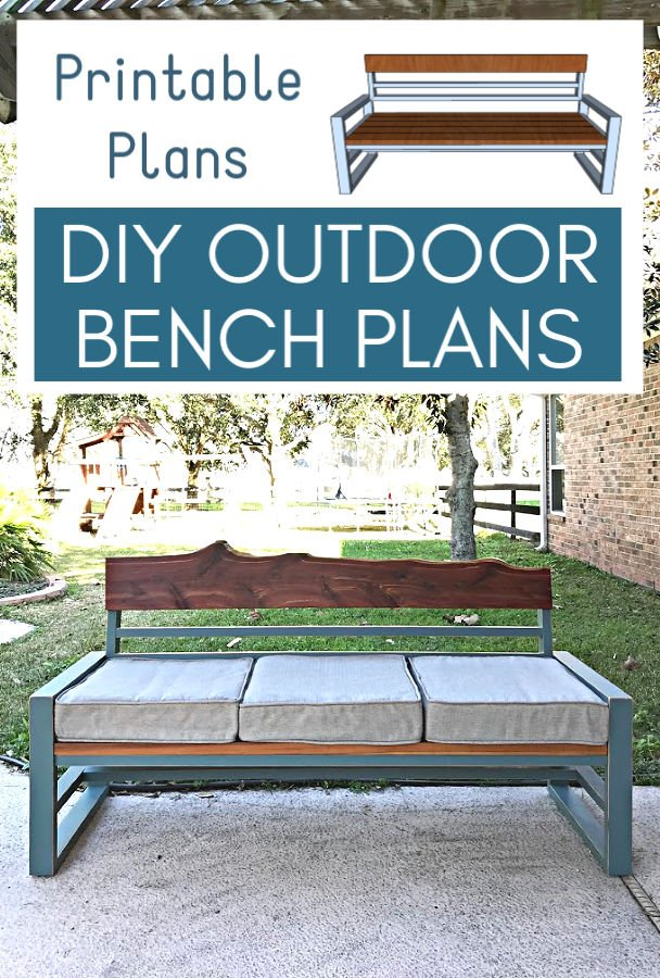 DIY Outdoor Bench Plans with a back. Wood bench made from cheap 2x4's - can be used with or without cushions.