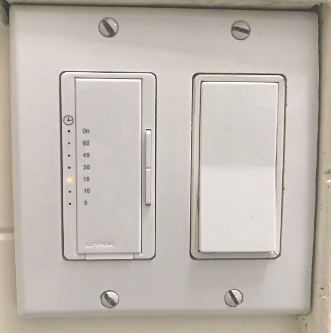 Timer switch for bath fans or lights in a home.