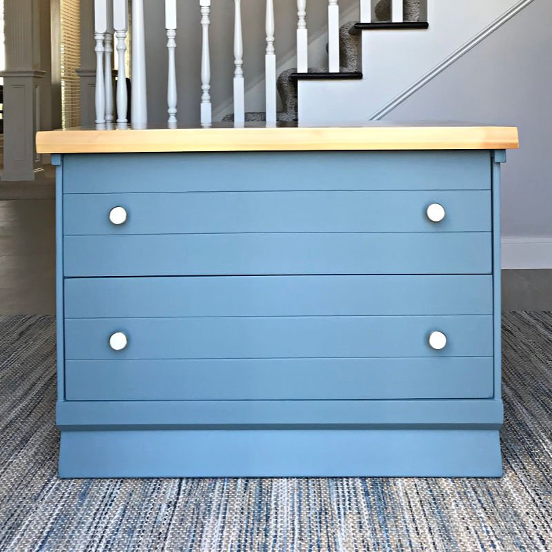 This easy DIY Night Stand Makeover uses Magnolia Homes by Kilz Demo Day paint color and new pulls to turn toy storage into this extra beautiful nightstand.