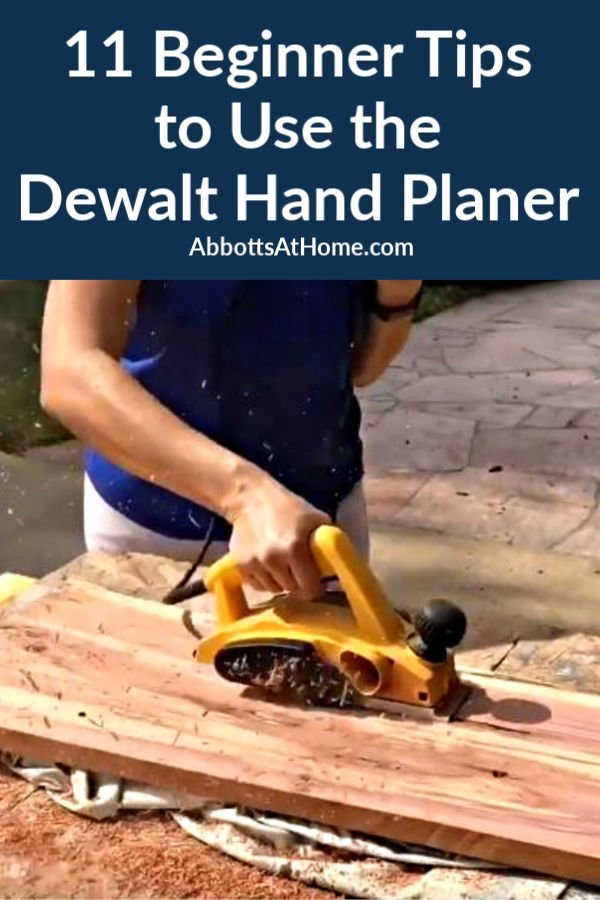 Here are 11 DIY tips I learned for how to use the Dewalt Hand Planer as a beginner. I hope they can help you get started with an electric hand planer, too. DIY Electric Hand Planer tips for beginners and home woodworkers.