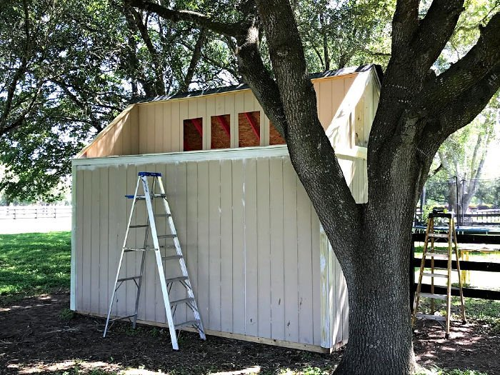 Here's a sneak peek at my big DIY Kid's Playhouse build. With lots of DIY videos and photos to help you Build a Kids Playhouse from a Shed, with an optional tree house deck on top. :)