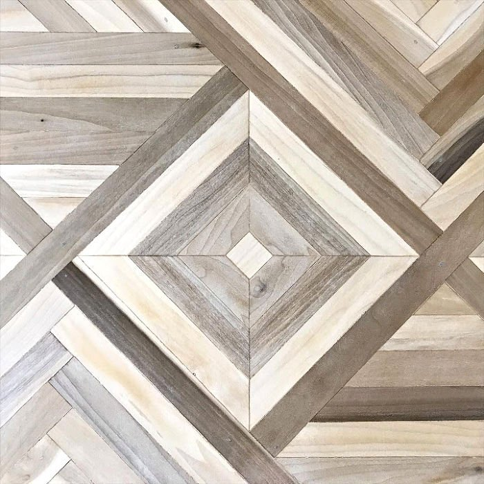 How To Steps and Videos for this beautiful DIY Geometric Wood Table Top. I used Poplar, but this would look great with reclaimed wood, Cedar, Oak, and more. DIY Mosaic Wood Art project.