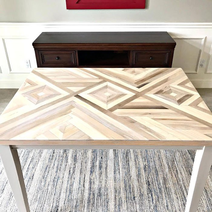 Step by step video with tips to make a DIY Mosaic wood tabletop. how to make DIY Geometric Wood Table Top or Geometric Wall Art.