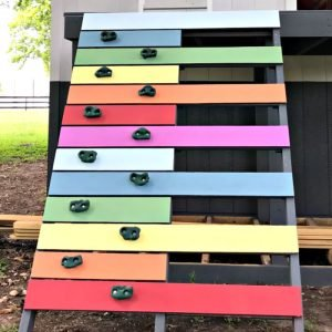 Easy to follow steps and video to make a kids climbing ramp, or rock climbing wall, for that backyard playhouse, fort, or play set. Fun design, right?! DIY Kids Rock Climbing Wall or Ramp.