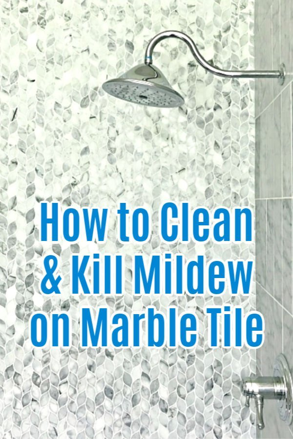 Here's the easy to follow DIY steps for How to Clean Marble Shower Tile, safely kill that gross mildew, and seal your marble. With How-To Video and DIY Marble Tile Cleaning Steps.