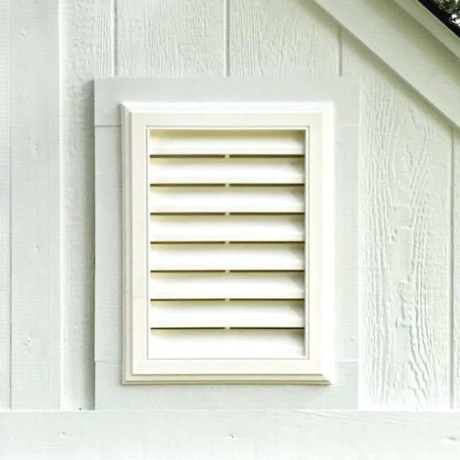 Written steps and how to video for a DIY Gable Vent Installation in a shed or barn wall or attic.