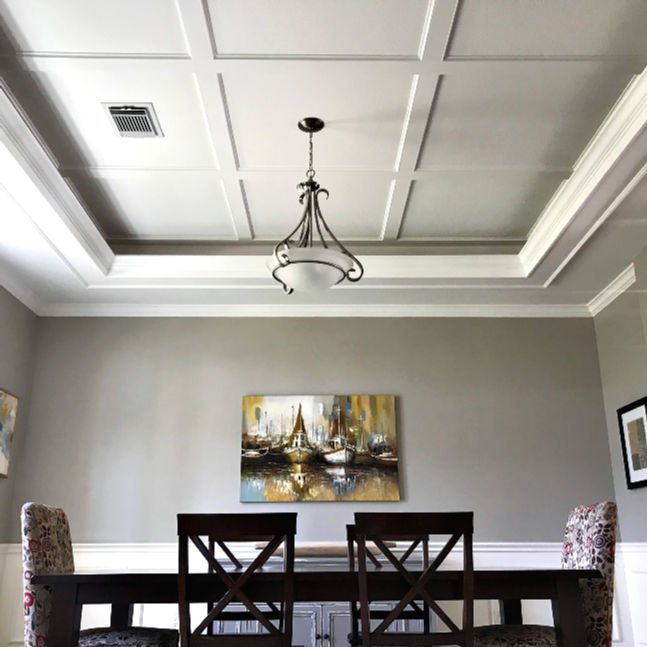 Try this Simple DIY Coffered Ceiling Design I used to give my Dining Room ceiling a beautiful new look. Includes lots of pictures and a how to video. DIY Ceiling Design Ideas. DIY Ceiling Makeover Ideas.