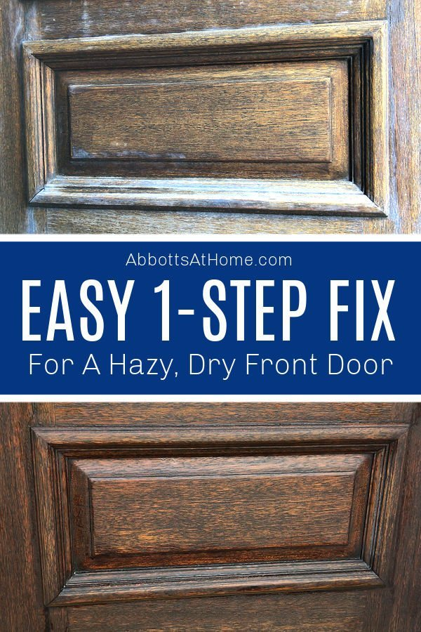 My poor front door takes a serious beating from the hot Texas sun. This 1-step fix moisturizes my Dry Wood Front Door, gets rid of heat haze, brings back the shine, and protects the door from sun-damage.