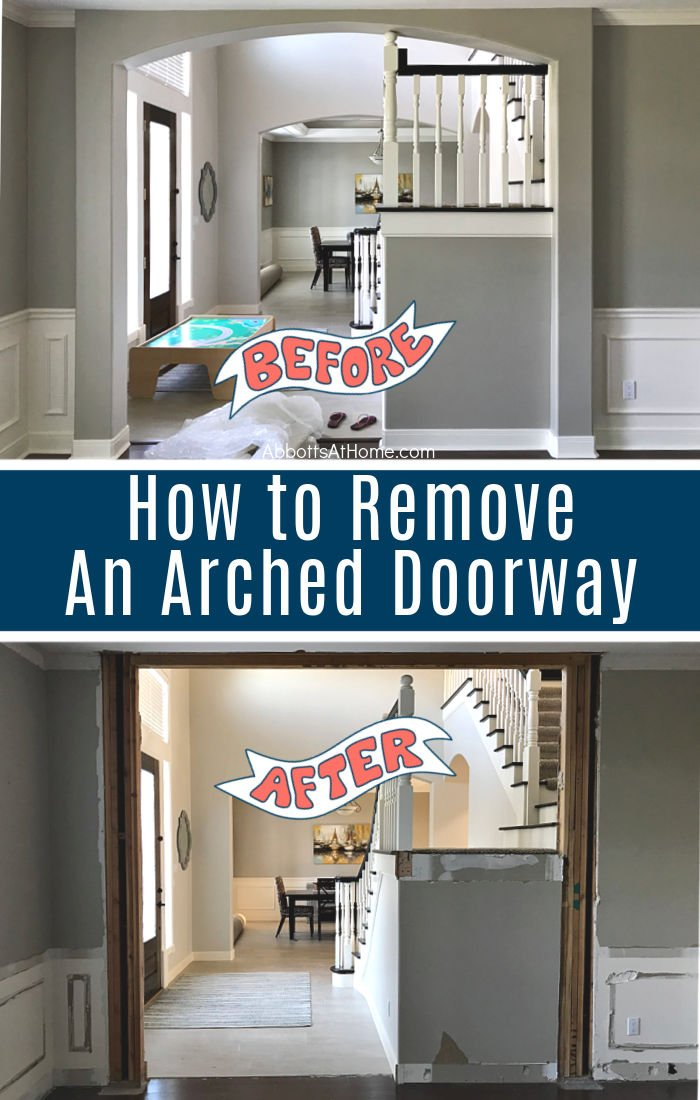 Here's how to remove an arched doorway in a wall with tips for demo, framing, and how to square off rounded arches. How to Demo Arched Doors in your home.