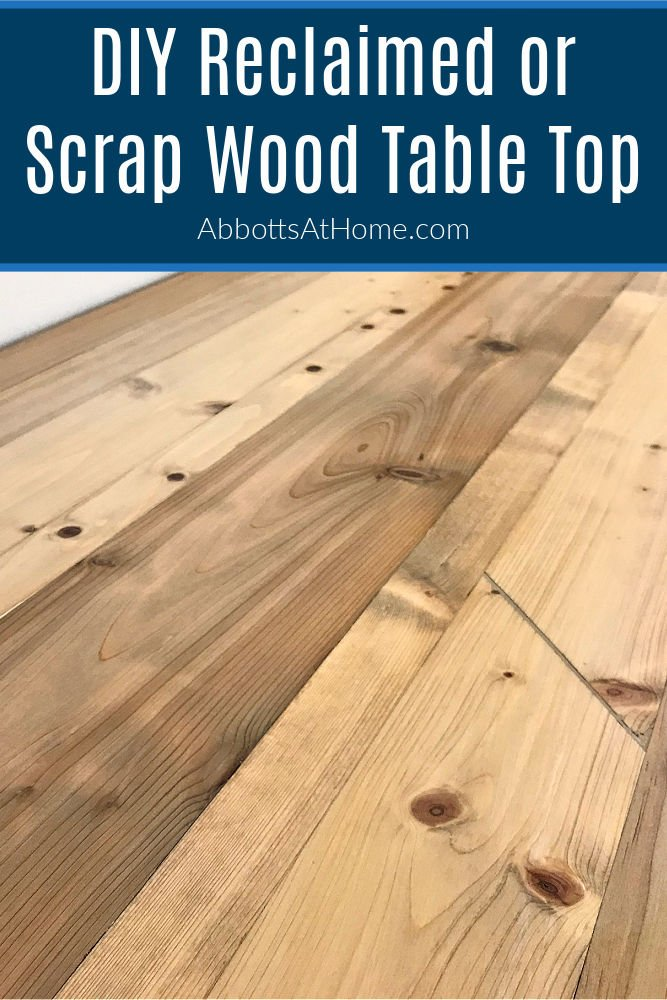 Turn that scrap wood or reclaimed wood into this beautiful rustic DIY Scrap Wood Table Top for your next furniture or woodworking project. How to build a rustic reclaimed wood table top with a Kreg Jig.